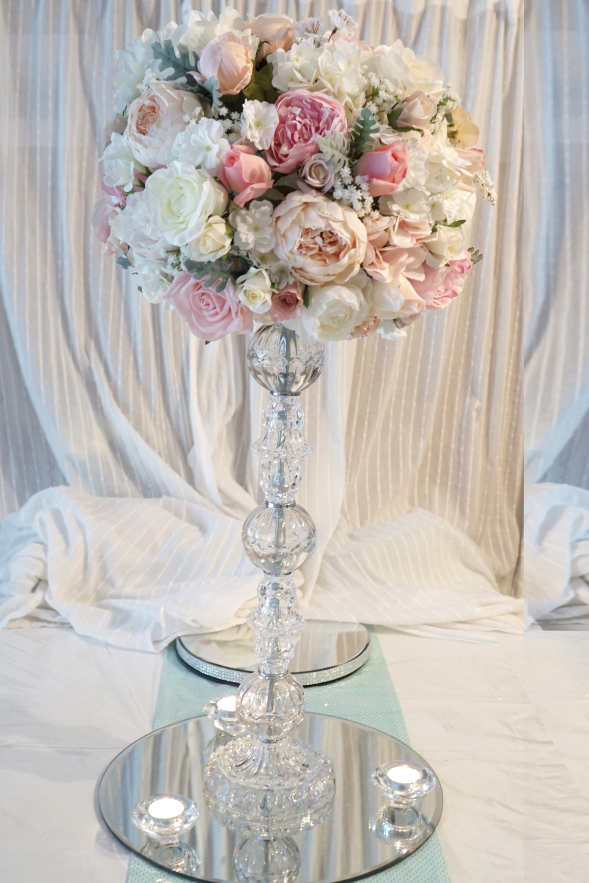 Wedding centerpieces artificial flowers image collections for Wedding dress vase centerpiece
