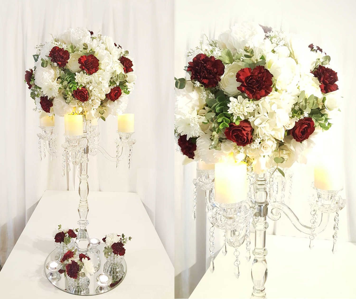 White Burgundery Flowerball Candelabra Wedding Decorations By Naz