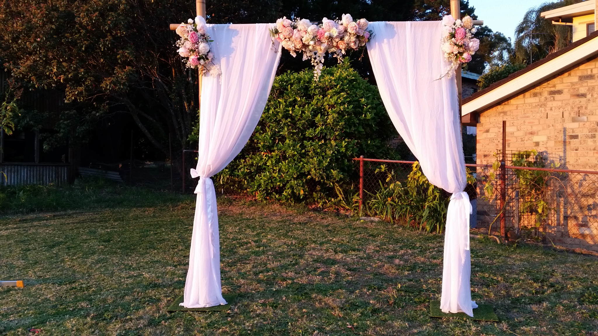 Wedding arch hire wedding arbor bamboo arch bamboo arch or canopy is available in a ceremony package or alone prices start at 300 note minimum spend of 510 for all wedding hire bookings junglespirit Gallery